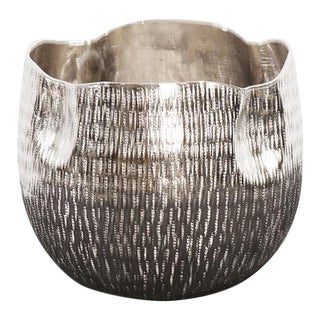 Kenneth Ludwig Textured Silver Cachepot For Sale