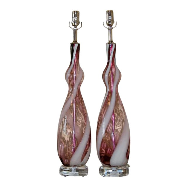 Vintage Italian Glass Table Lamps Purple White For Sale