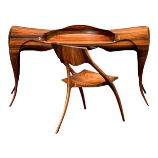 1965 Wendell Castle Vermilion Desk and Chair For Sale