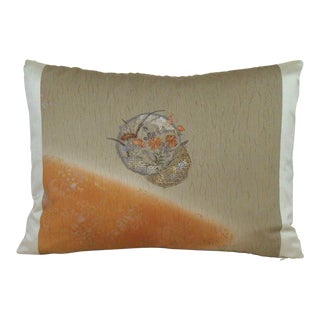 Embroidered Medallion Japanese Shibori Kimono Lumbar Pillow Cover For Sale