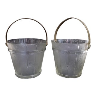 Vintage Glass Ice Buckets - A Pair For Sale