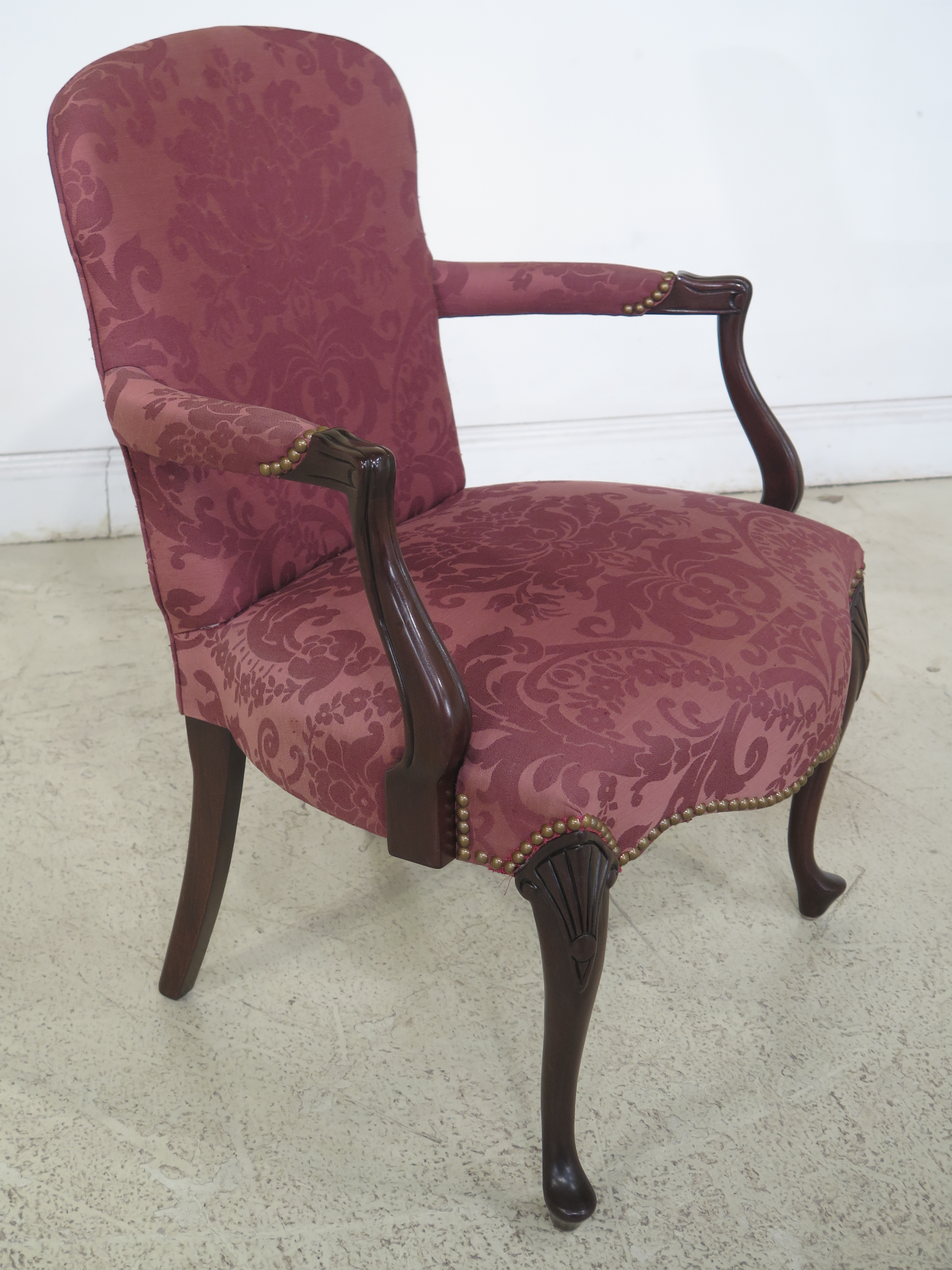 Beau Hickory Chair Co. Queen Anne Mahogany Damask Armchair   Image 5 Of 13