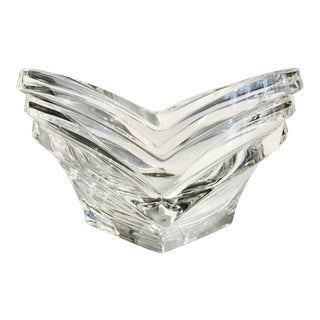 Vintage Geometric Fluted Crystal Vide-Poche, France 1970's For Sale