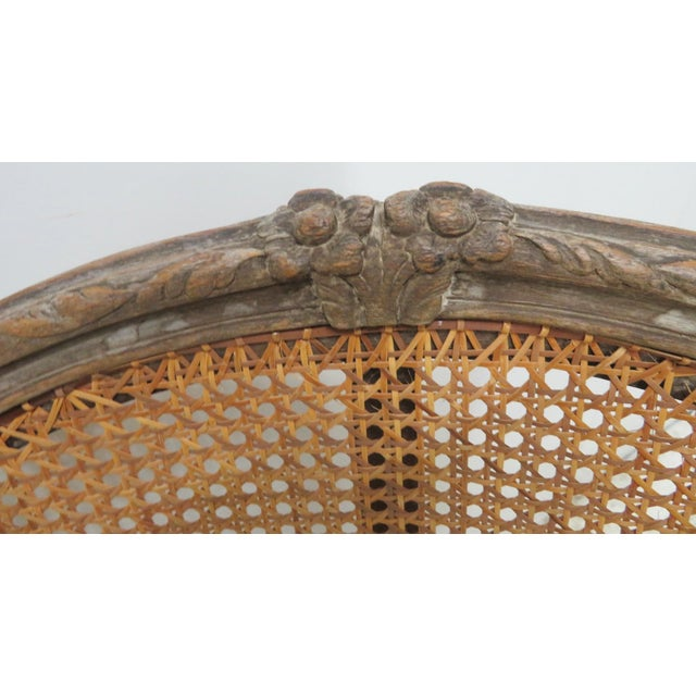 French Style Antique Caned Distressed Chair - Image 4 of 9