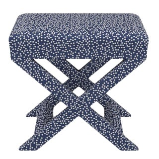 X Bench in Navy Scattered Dot For Sale