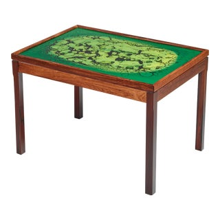 Wood Coffee Table With Green Colored Glass Top, Sweden