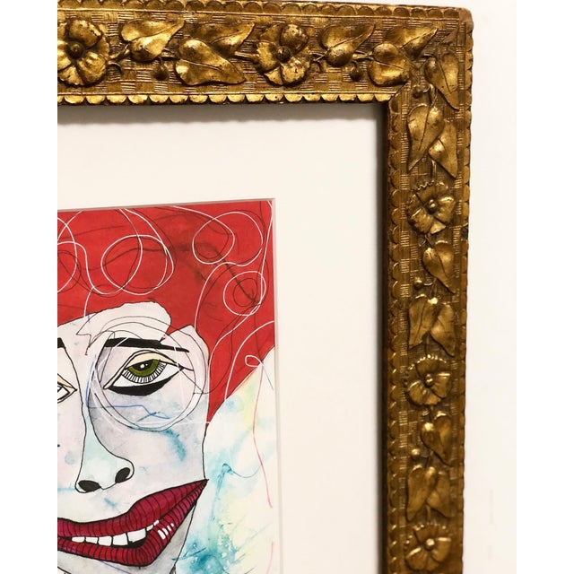 Contemporary Folk Art Portrait Mixed-Media Painting by Robin Thompson, Framed For Sale - Image 4 of 7