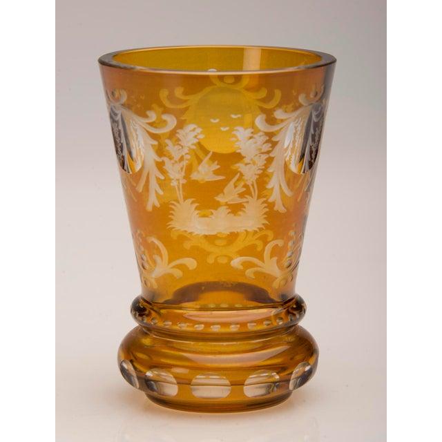 Vintage English Bohemian Cut Glass Amber Vase circa 1950 - Image 6 of 7