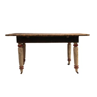 19th-Century Painted Folk Art Farm Table