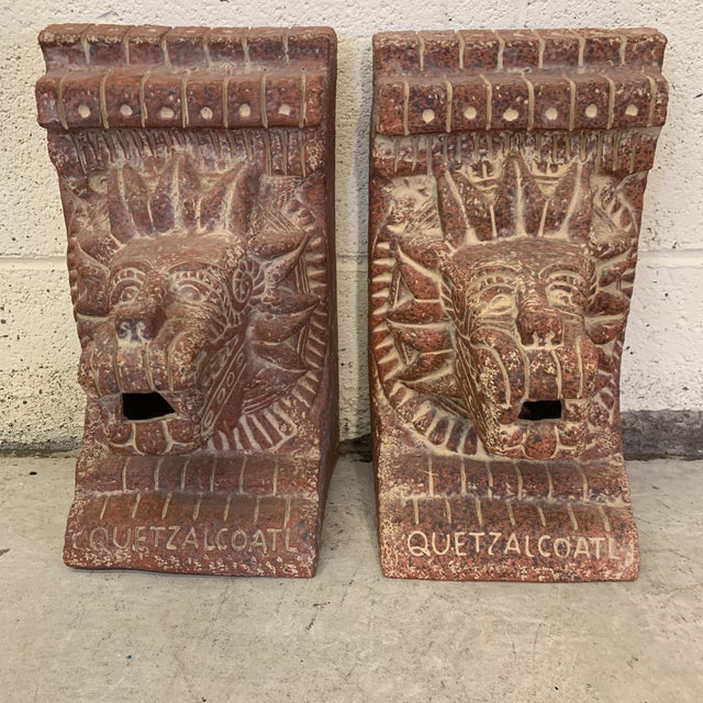 Large Terra-Cotta Bookends Quetzalcoatl Pyramid For Sale - Image 12 of 12