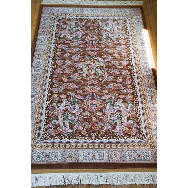 Asian Chinese Hand Knotted Wool Dragon Rug - 6′ × 9′ For Sale - Image 3 of 10