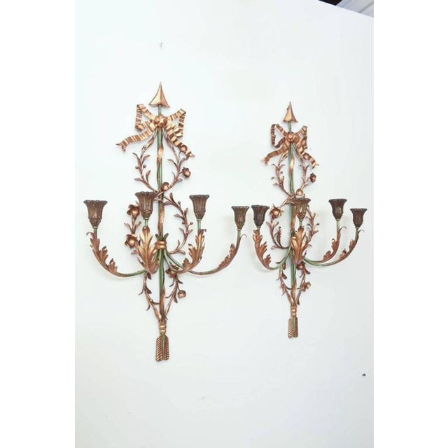 Pair of Italian Painted and Gilded Iron Foliate Sconces For Sale - Image 4 of 9