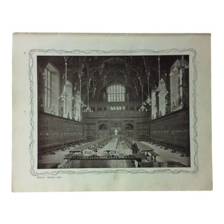 """1906 """"Middle Temple Hall"""" Famous View of London Print For Sale"""