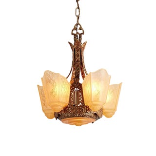Ornate 6-light Slipper Chandelier by Moe Bridges Circa 1928