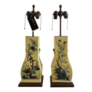 Pair of Antique Art Deco Yellow Chinese Pottery Lamps For Sale
