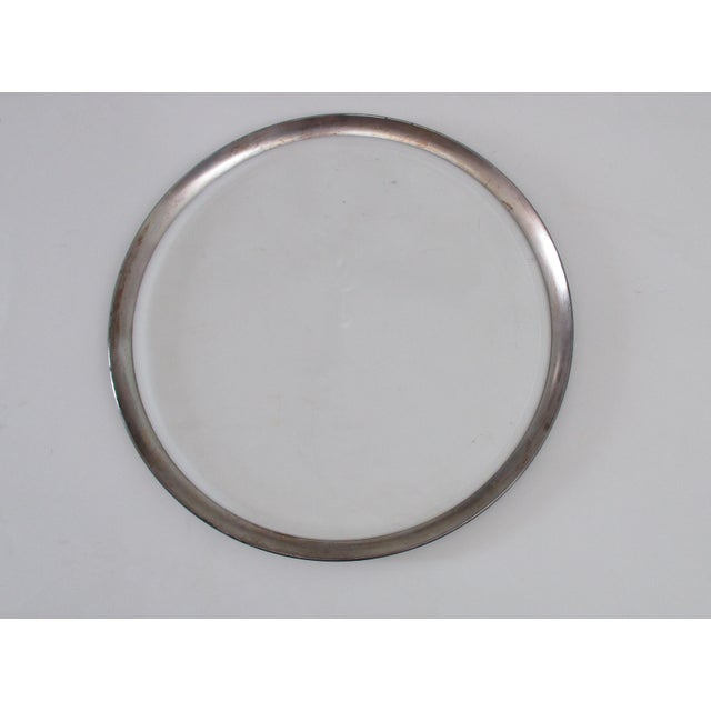 Dorothy Thorpe Mid-Century Glass Silver Rim Tray - Image 2 of 11