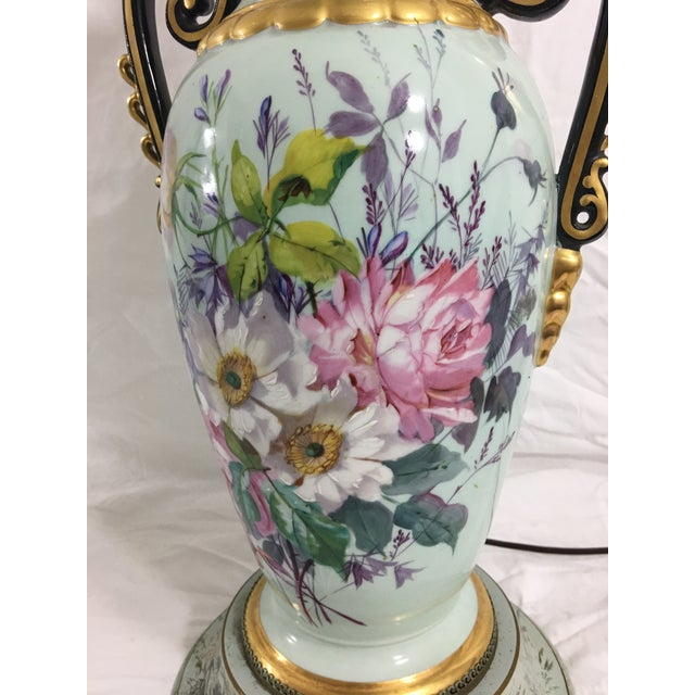 Metal Old Paris Springtime Lamps With Hand-Painted Toile Base - a Pair For Sale - Image 7 of 11