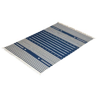 Yarrow Rug, 8x10, Navy Blue & White For Sale