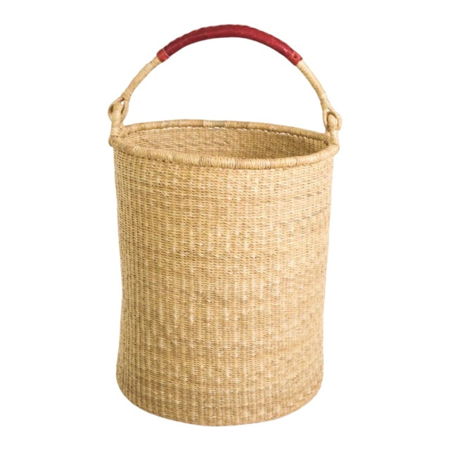 Grass Hamper Basket With Leather Handle For Sale
