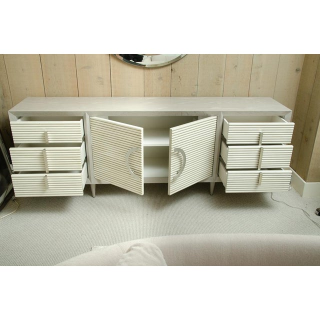 Gray Oak Sideboard With 6-Drawers and 2 Cabinets For Sale - Image 9 of 12