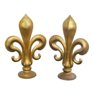 Antique Italian Fleur-De-Lis Sculptures- A Pair For Sale
