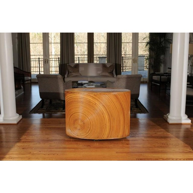 Dramatic Restored Vintage Oval Sunburst Bamboo and Brass Console For Sale In Atlanta - Image 6 of 11