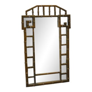 Faux Bamboo Greek Key Mirror For Sale