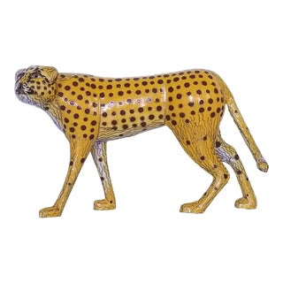Vintage Cloisonne Enamel and Brass Cheetah Figurine Sculpture