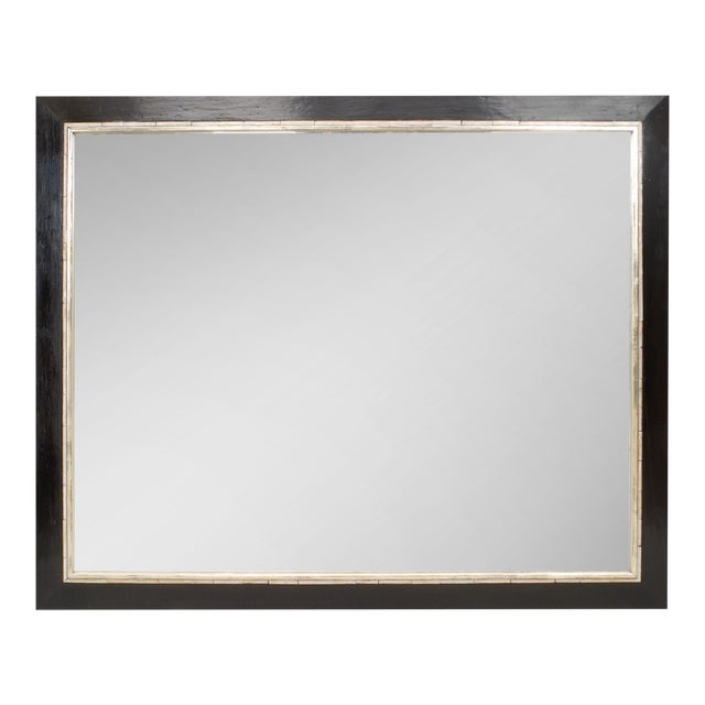Art Deco (Austrian) Large Ebonized Rectangular Bevelled Glass Mirror For Sale