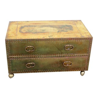 Sarreid Ltd Campaign Style Metal Embossed Chest For Sale