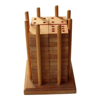 1970s Vintage Wooden Domino With Stand For Sale