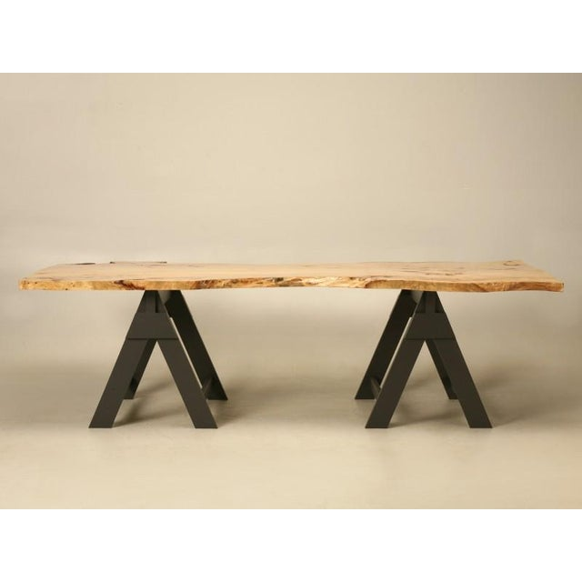 "This thick 2"" slab of 40 year old French elm was found in the backyard of a famous French furniture maker, who..."