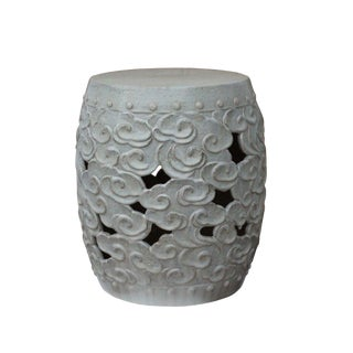Ceramic Clay Off White Glaze Round Scroll Pattern Garden Stool For Sale