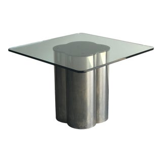 Modernist Steel and Glass Dining Table For Sale