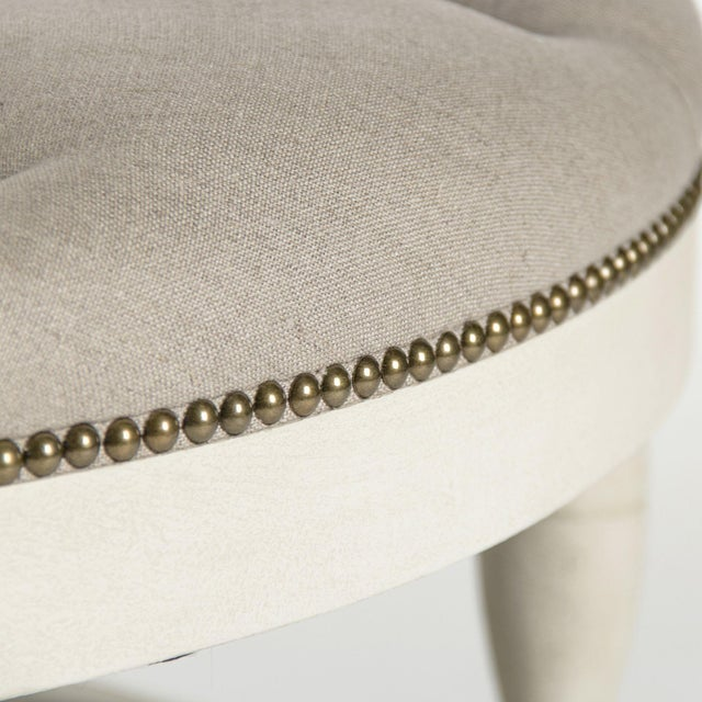 Edmonds Ottoman in Natural Linen For Sale - Image 4 of 5