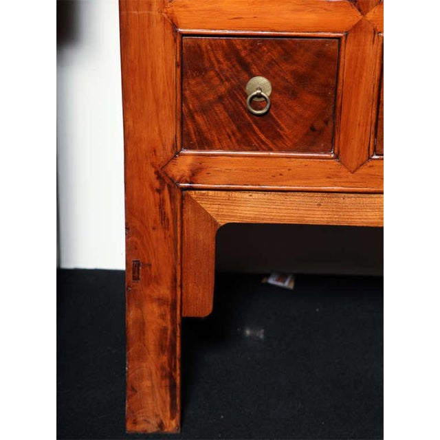 Large Chinese Hebei Burl Wood Paneled Cabinet With Brass Hardware C. 1900 For Sale - Image 10 of 11