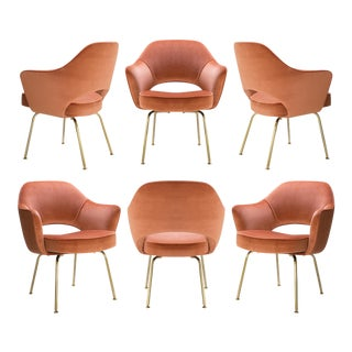 Original Saarinen Executive Arm Chairs in Rust Velvet, Custom 24k Gold Edition - Set of 6 For Sale