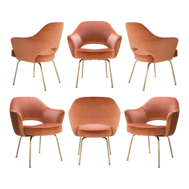 Saarinen Executive Arm Chairs in Rust Velvet, 24k Gold Edition - Set of 6 For Sale