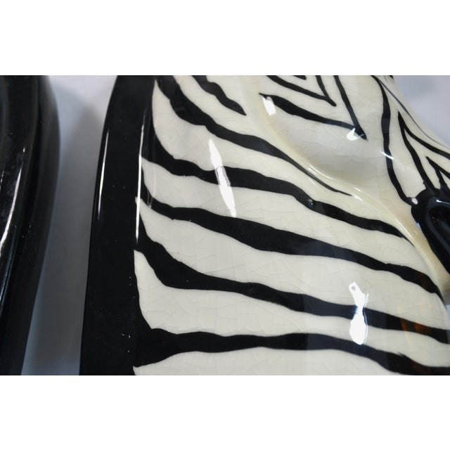 Ceramic Vintage Zebra Head Vase - A Pair For Sale - Image 7 of 10