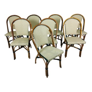 French Style Rattan Café Chairs- Set of 8 For Sale