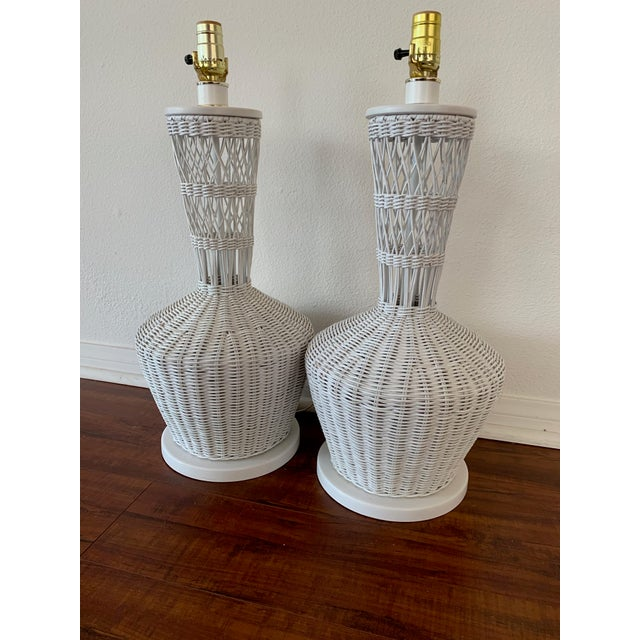 Wicker Rattan White Lamps - Pair For Sale - Image 10 of 10