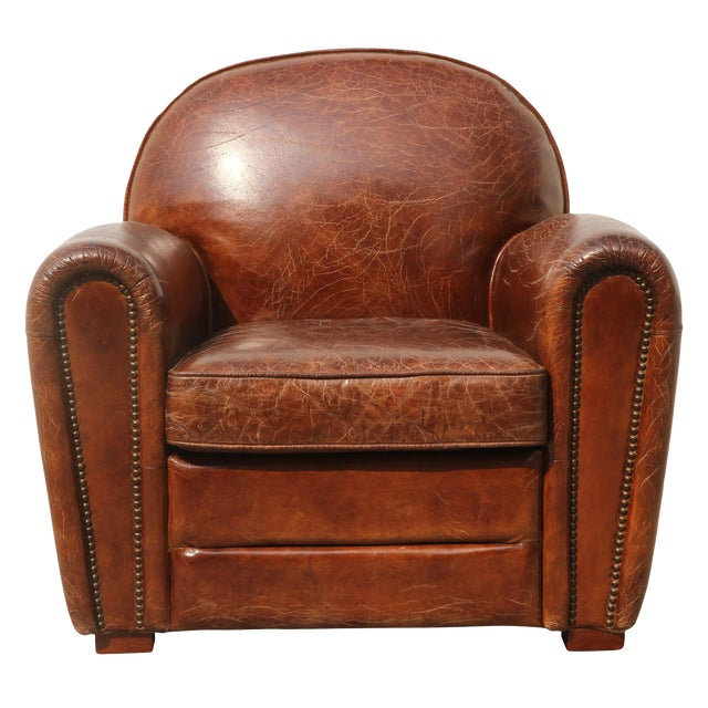 Pasargad Brown Leather Paris Club Chair For Sale In New York - Image 6 of 7