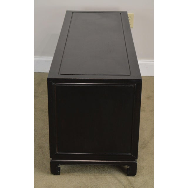 Royal Cathay Trading Co. Vintage Black Painted Asian Low Console Cabinet For Sale - Image 4 of 13