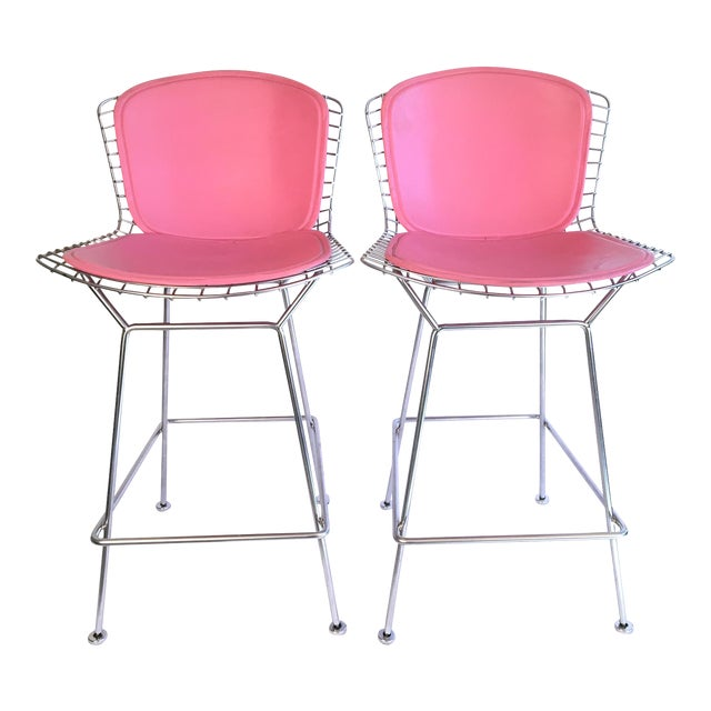 Harry Bertoia Knoll Signed Chrome Bar Counter Stools - a Pair - Image 1 of 11