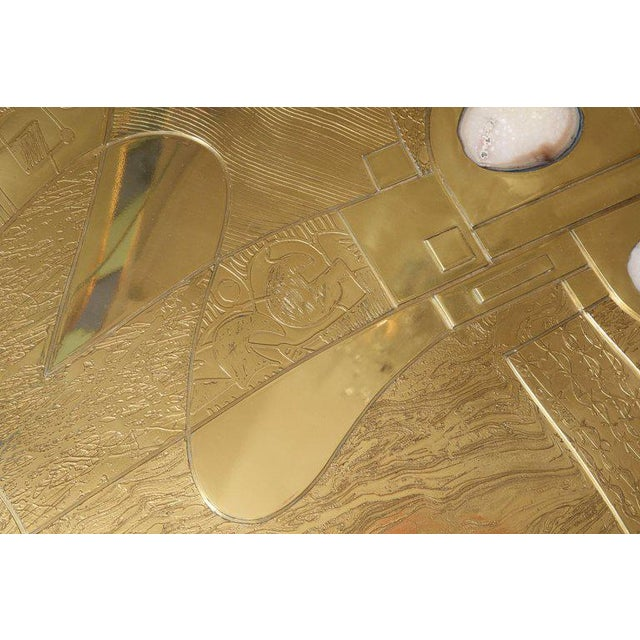 Spectacular Etched Brass and Double Agate Rectangular Cocktail Table For Sale In New York - Image 6 of 10