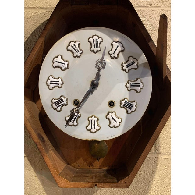 Late 19th Century 19th Century French Napoleon III Mother of Pearl Inlay and Painted Wall Clock For Sale - Image 5 of 12