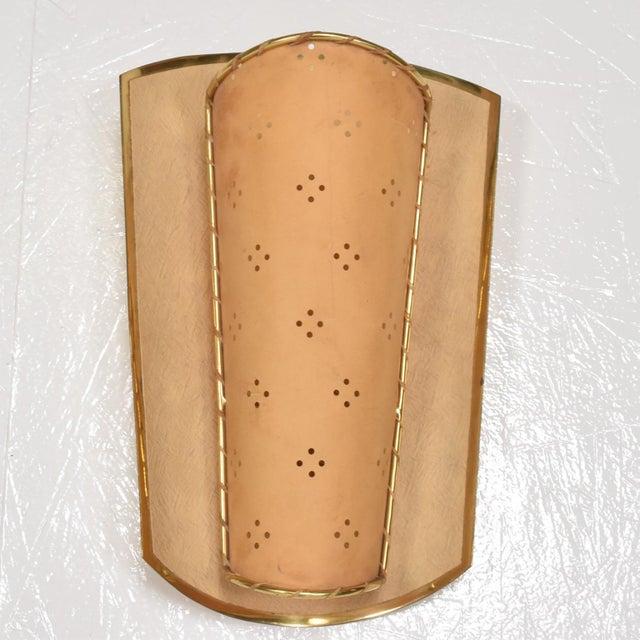 Art Deco Mid-Century Italian Modernist Shield Sconce For Sale - Image 3 of 7