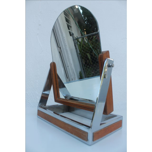 Mid-Century Modern Chrome & Wood Vanity Mirror For Sale - Image 3 of 8
