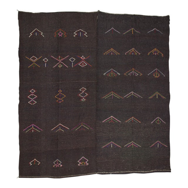 Embroidered Dark Brown Goat Hair Kilim Rug - 11′7″ × 12′6″ For Sale