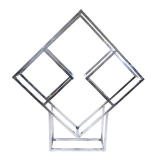 1970s Chrome Geometric Diamond Shaped Etagere For Sale